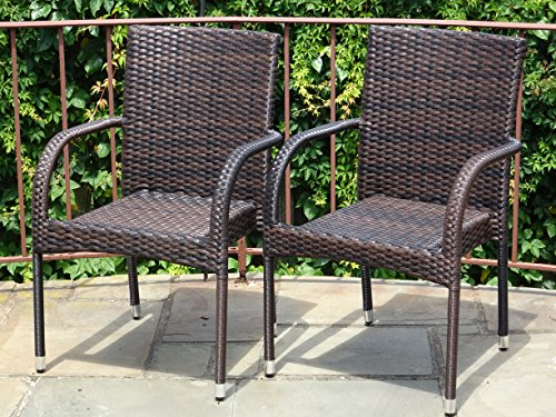 Patio Resin Outdoor Garden Deck Wicker Arm Chair. Dark Brown Color (Set of 2) (Dark Brown Wicker Chair)