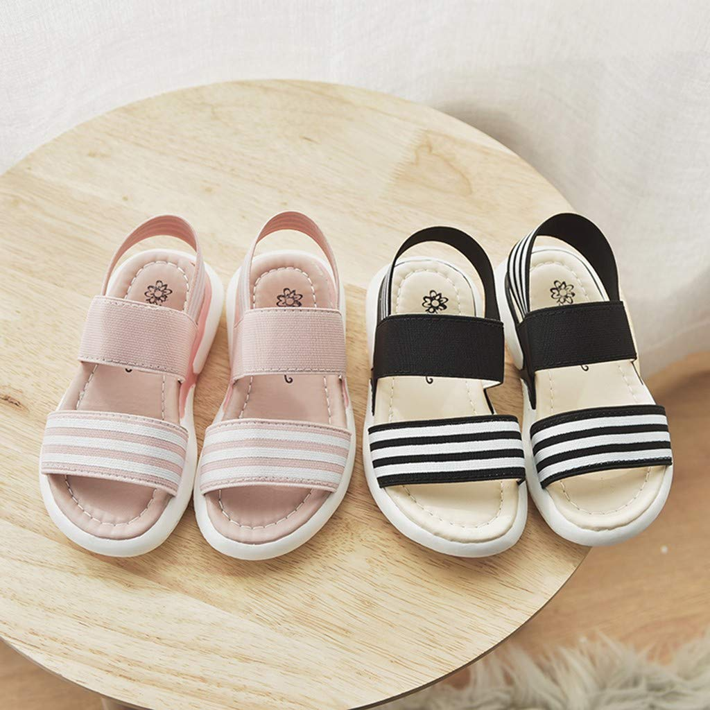 Summer Children Infant Kids Baby Girls Striped Elastic Beach Shoes Sandals Randolly Toddler Shoes
