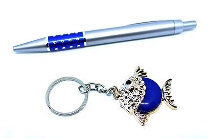 Bolígrafo Plata y llavero Pez en Juego, color azul: Amazon ...