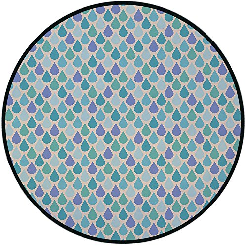 Printing Round Rug,Teal,Colorful Water Droplets Rain Themed Image Natural World in Abstract Manner Mat Non-Slip Soft Entrance Mat Door Floor Rug Area Rug For Chair Living Room,Aqua Teal Lavender ()