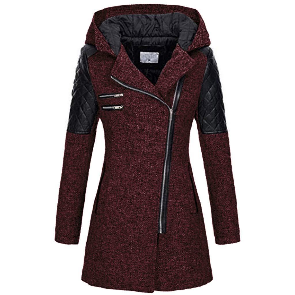 FILOL Women Warm Slim Jacket Thick Lightweight Water-Resistant Overcoat Winter Outwear Down Hooded Coat Wine by FILOL apparel