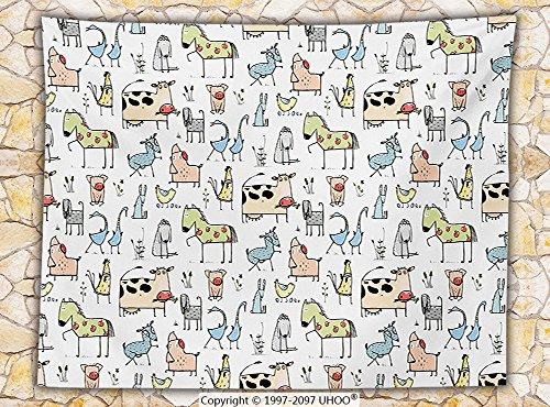 Animal Decor Fleece Throw Blanket Cute Cow Horse Pigs Chicken Sheep Farmhouse Mascots Kids Nursery Baby Cartoon Print Throw Multi
