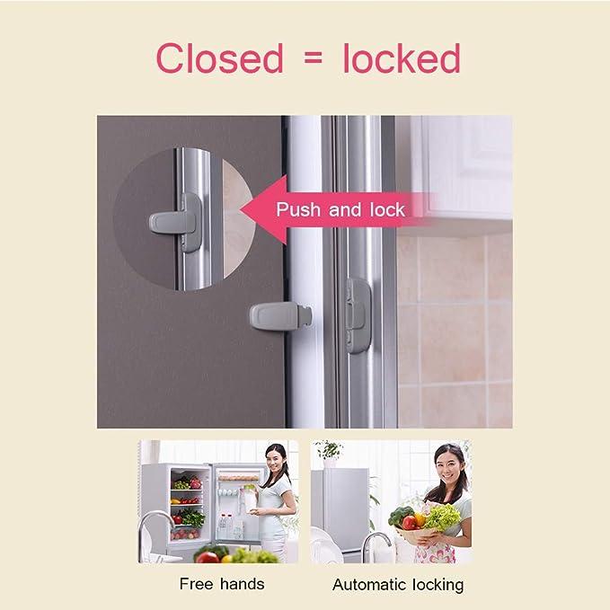Yissma Cerradura para frigorífico y congelador, Cierre de Puerta con Cierre de Seguridad para niños, fácil de Instalar y de Usar: Amazon.es: Hogar