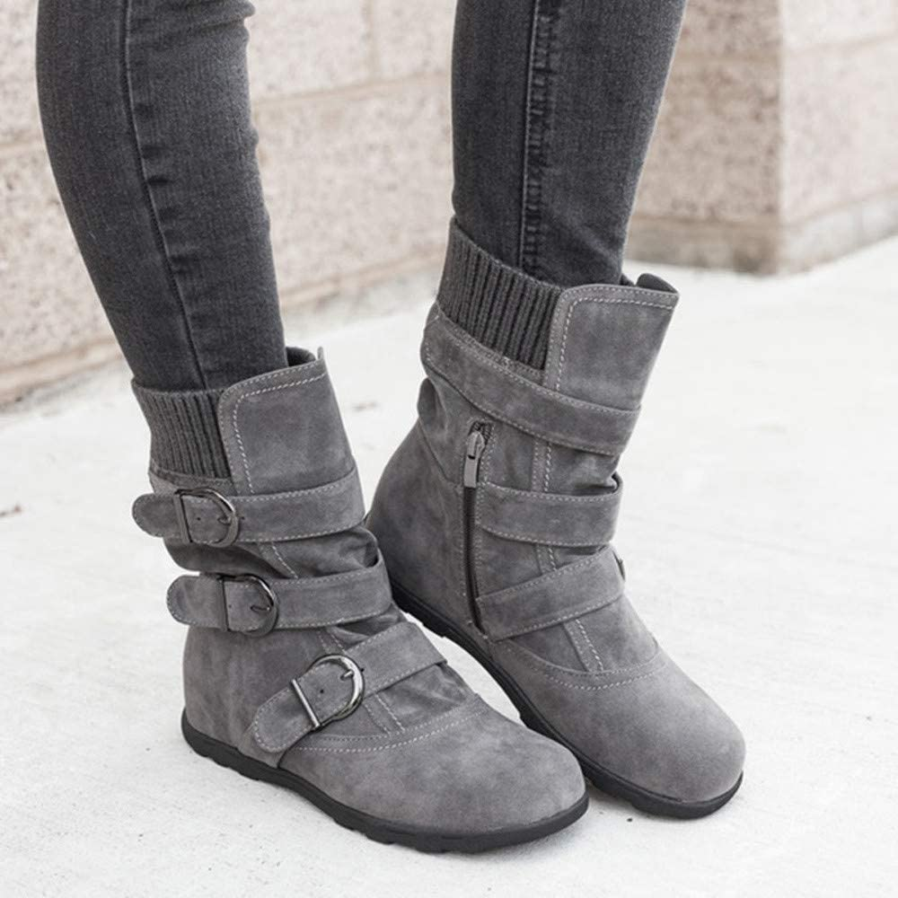 Dainzuy Women Mid Claf Boots Warm Winter Suede Side Zipper Slouch Ankle Booties Strappy Round Toe Snow Shoes