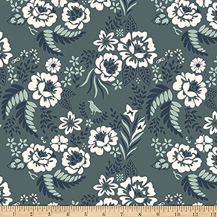 b2b6408f4b5 Amazon.com: Birch Organic Fabrics Merryweather Floral Canvas Slate Yard