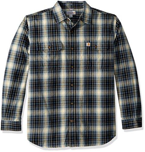 Carhartt Men's Hubbard Plaid Flannel Shirt, Dark Blue, X-Large (Best Heavyweight Flannel Shirt)