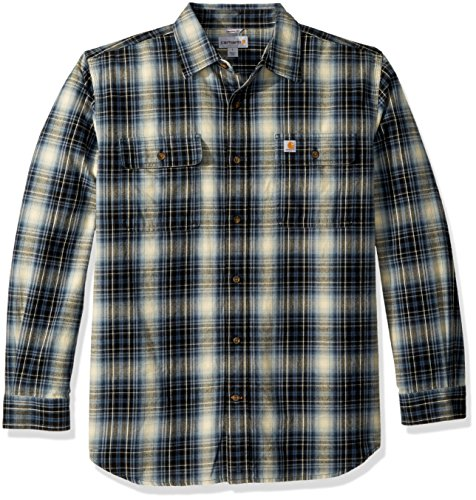 Carhartt Men's Hubbard Plaid Flannel Shirt, Dark Blue, X-Large