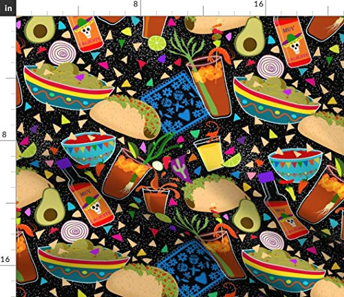(Spoonflower Mexican Food Fabric - Muy Caliente Tacos and Michaladas Chips Guac Salsa Beer Drinks Fiesta Party Print on Fabric by The Yard - Denim for Sewing Bottomweight Apparel Home Decor Upholstery)