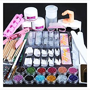 Pro 24 in 1 Acrylic Nail Art Tips Full Kit Set,Wondere Professional Nail Art Liquid Buffer Glitter Deco Tools,Acrylic Powder/Acrylic Liquild/Nail Glue/Tweezer/Cutter,etc (24 set)