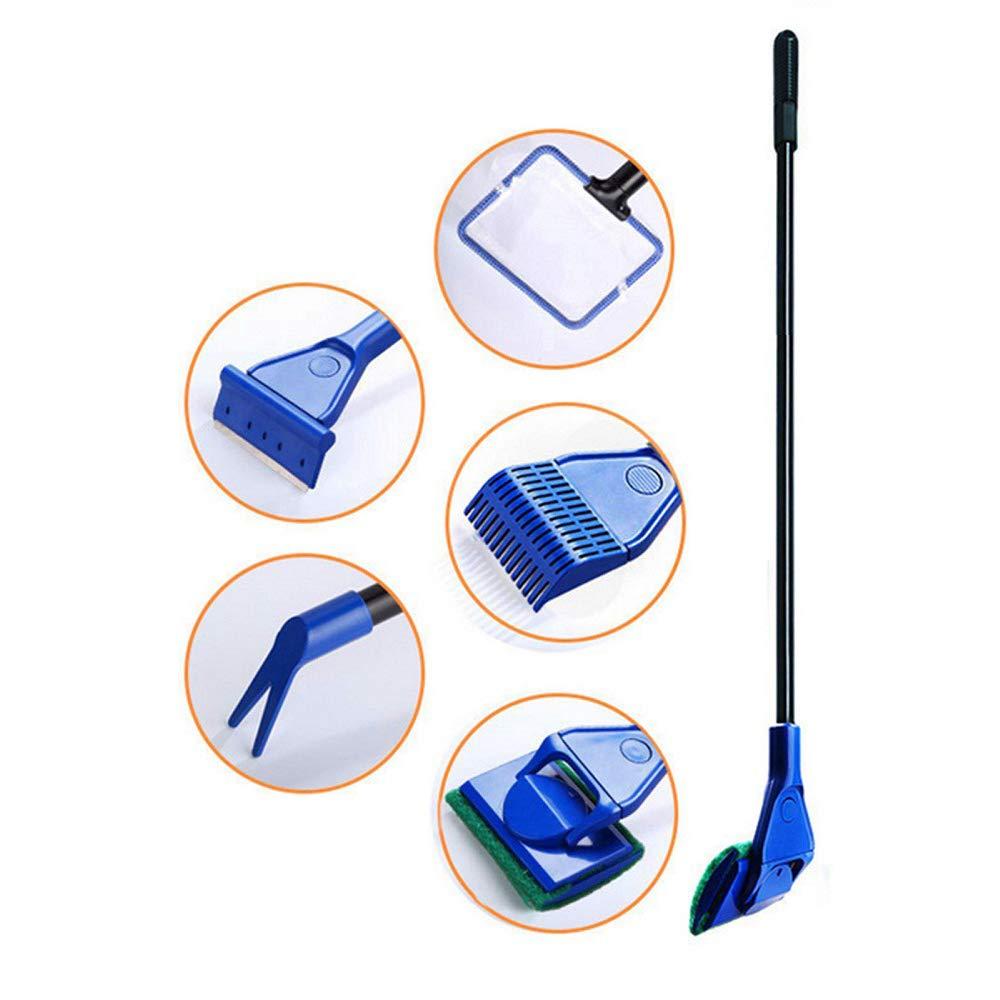 Potelin Plastic Fish Tank Clean Kit Lightweight 5 in 1 Aquarium Clean Tools for Fish Net/Gravel Rake/Glass Brush/Plant Clip/Fork Aquarium Use