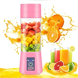 Pink Blender 500ml Portable Personal Blender Codless 6 Blades Mini Fruit Bottle Juicer USB Rechargeable Cup Blender For Shakes And Smoothies (Pink)