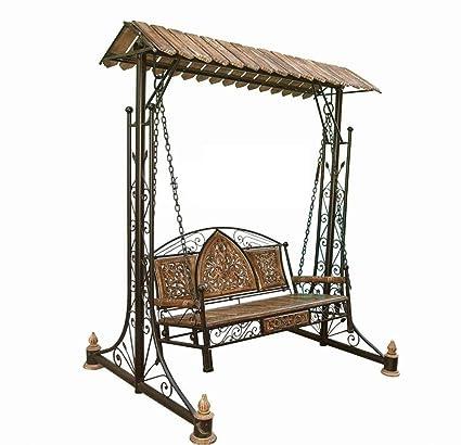 Aafiya Handicrafts Solid Wood & Iron Designer Swings/Jhoola for Home & Garden Floor-Standing - Af0262