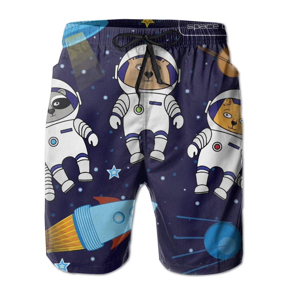 Shadidi Mens Summer Astronauts Space Travel Quick-Dry Running Swim Trunks Boader Shorts Beach Swimsuit Sports