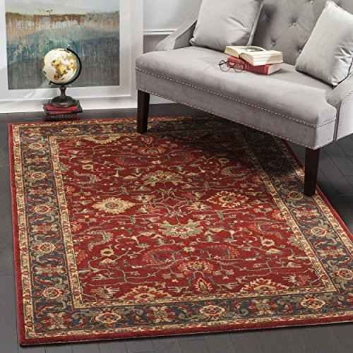 Rug Red Mahal - Safavieh Mahal Collection MAH693F Traditional Oriental Red and Navy Area Rug (6'7