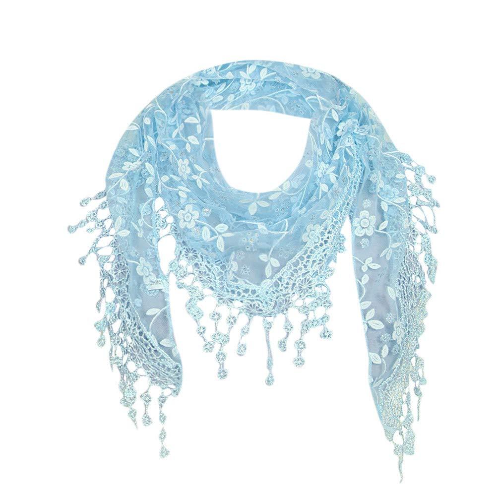 Connia Women Lace Sheer Floral Soft Scarf Shawl Wrap Tassel Elegant Multipurpose Scarf (Blue)