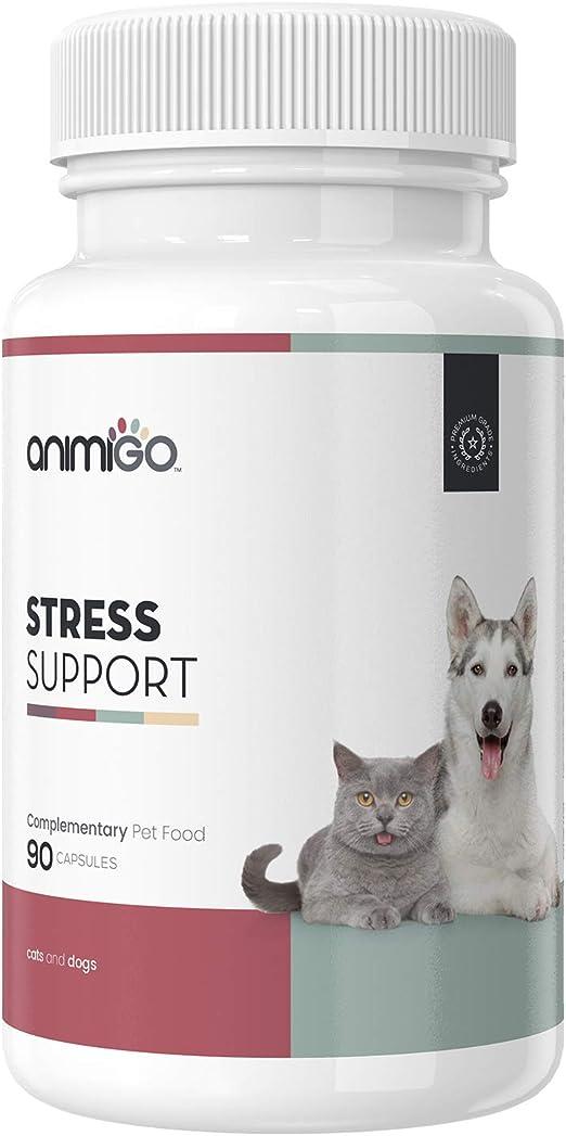 Animigo Suplemento Antiestrés para Gatos y Perros | Situaciones de Estres y Ansiedad | para Viajar, Separaciones y Ruidos Fuertes | No Somnífero | con Manzanilla y Vitamina B | 90 Cápsulas: Amazon.es: Productos para mascotas