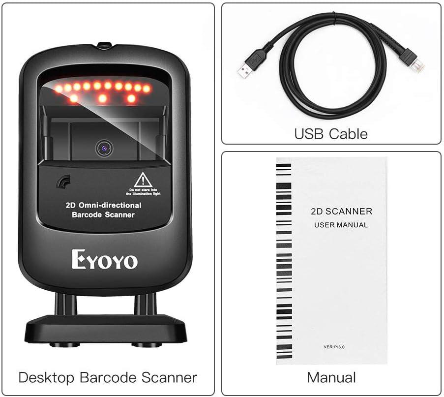 Eyoyo 1D QR 2D Desktop Barcode Scanner USB Wired Handsfree ...