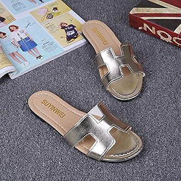 Qsy shoe Sandalias de Mujer Zapatillas de Verano para Mujeres de Fondo Plano H Letra de una Palabra Antideslizante Ocio: Amazon.es: Deportes y aire libre