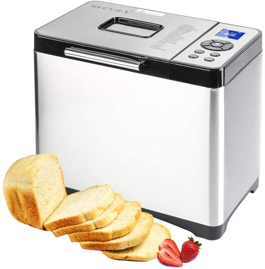 Secura Bread Maker Machine 2.2lb Stainless Steel Toaster Makers 650W Multi-Use Programmable 19 Menu Settings for Home Bakery Silver