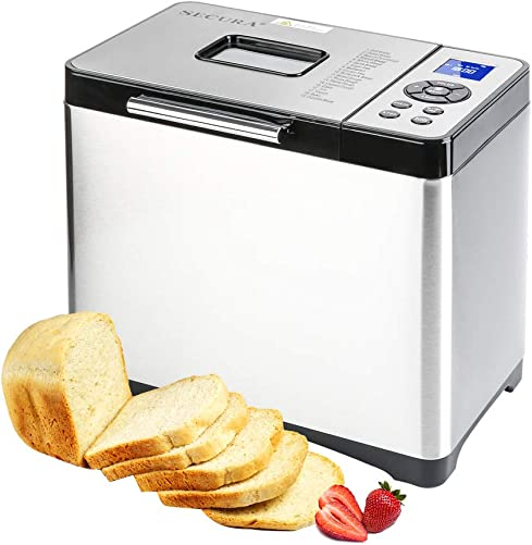 Secura Bread Maker Machine 2.2lb Stainless Steel Toaster Makers 650W Multi-Use Programmable 19 Menu Setting