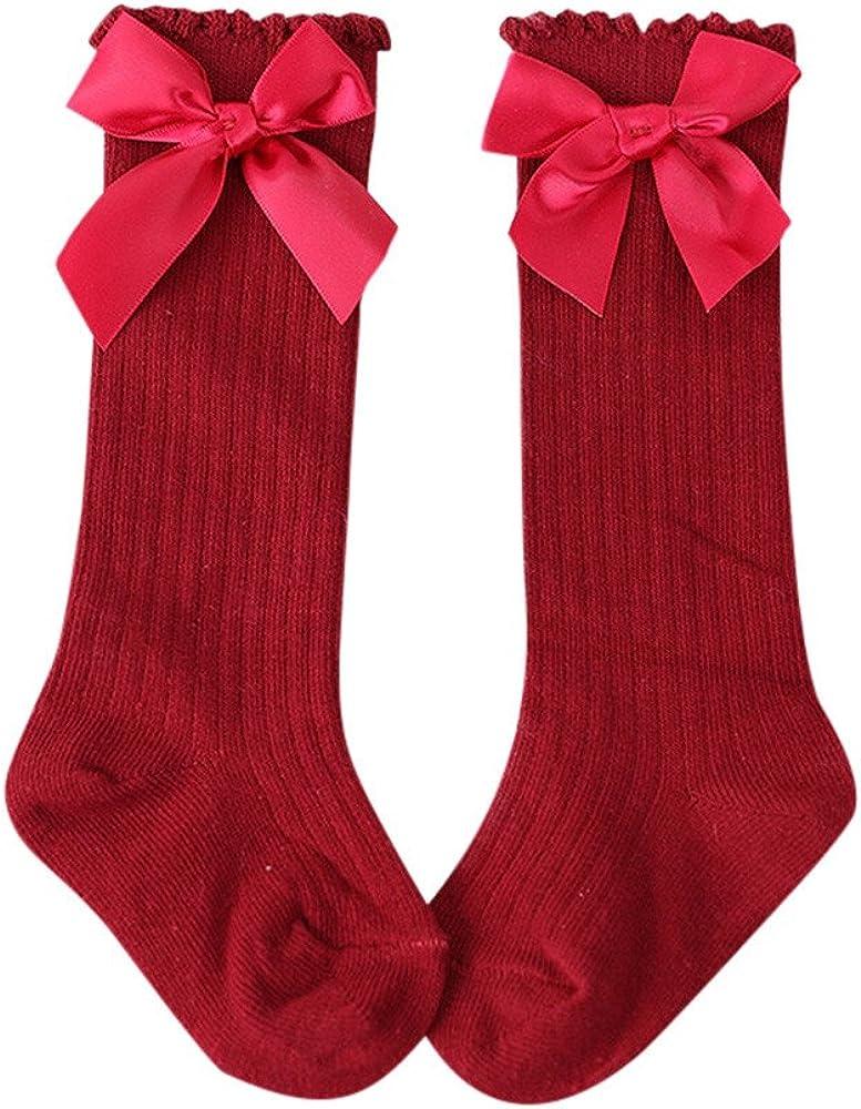 chaussettes antid/érapantes ProperLI Chaussettes en tube pour enfants Nouveaux B/éb/é Tout-Petits Filles en Coton Doux Dentelle noeud