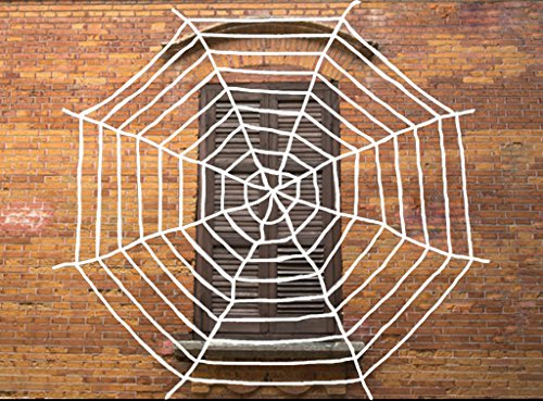 Multi-size Spider Web for Halloween Decoration, Virtual Realistic Spider Web, Black or White (10FT, (White Spider Web Halloween Decoration)