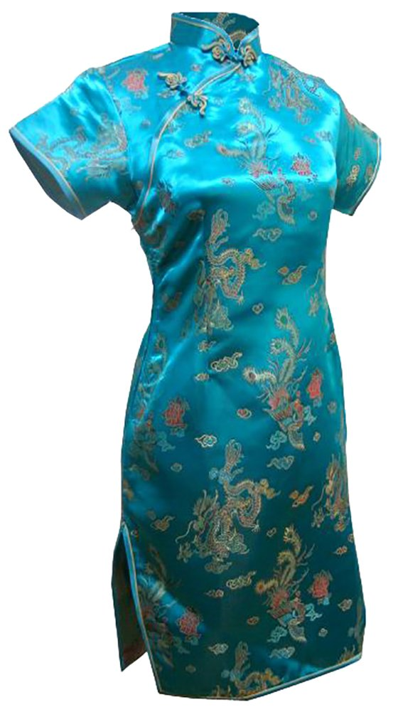 7Fairy Women's Vtg Turquoise Dragon Mini Chinese Prom Dress Cheongsam Size 2 US