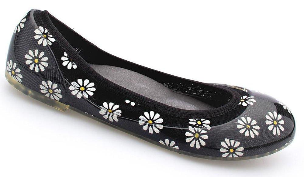 JA VIE Walking Shoes for Women Ballet Flats Style for Every Day Wear Driving Walking, Daisy, Black SZ 39