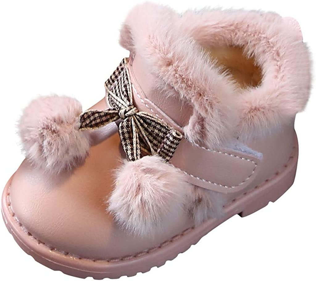 ZZBObootie Baby Girls Winter Bootie Warm Cozy Fur Waterproof Ankle Snow Boots First Walking Sports Snow Shoes Soft Sole Non-Slip for Kids Toddler 6-24M