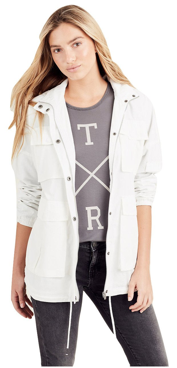 True Religion Women's Light Weight Parka Jacket in White (X-Small)