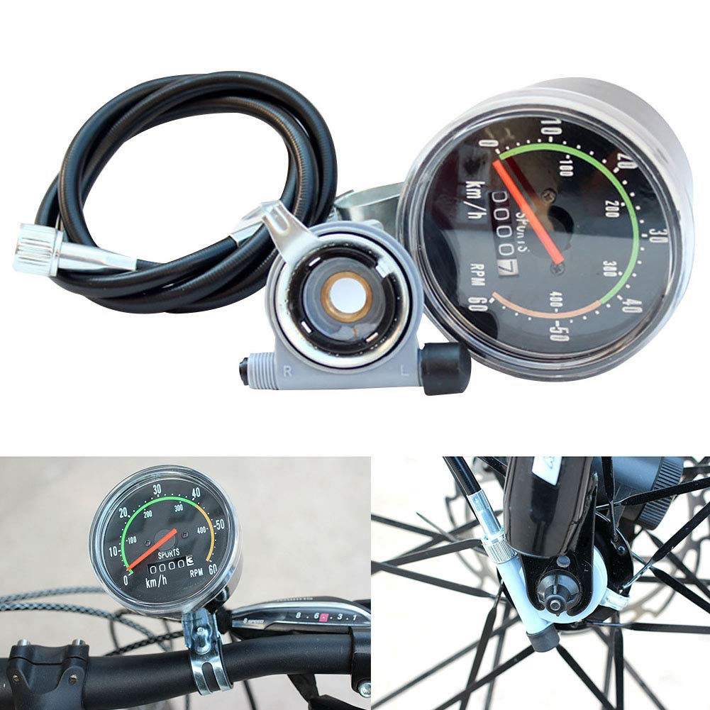 Carole4 Bicycle Mechanical Speedometer, Classical Mechanical Road Mountain Bike Speedometer, Cycling Odometer Stopwatch Waterproof Speedometer for Bicycle
