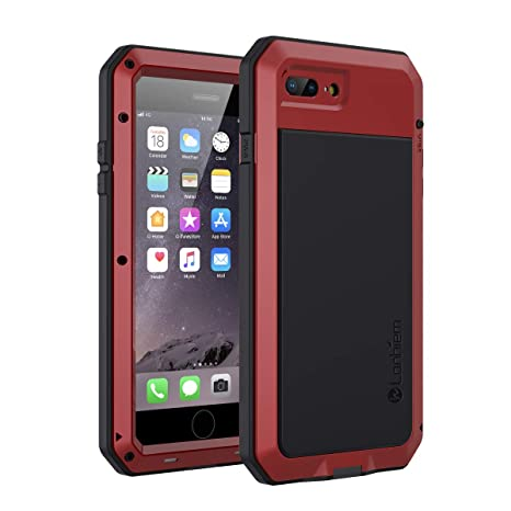 iPhone 7 Plus / 8 Plus Case, Lanhiem Heavy Duty Shockproof [Tough Armour] Metal Case with Built-in Screen Protector, 360 Full Body Protective Cover, ...