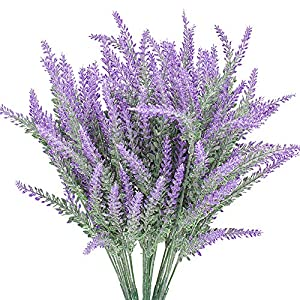 Grunyia 6 Bundles Artificial Flowers Lavender Bouquet in Purple Artificial Plant Arrangement Lifelike Natural Fake Plant to Brighten Up Your Home Decor Party Wedding Garden Office Patio Decoration 60
