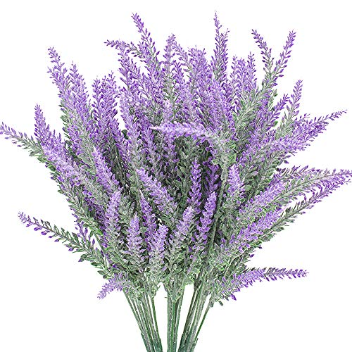 (Grunyia 6 Bundles Artificial Flowers Lavender Bouquet in Purple Artificial Plant Arrangement Lifelike Natural Fake Plant to Brighten Up Your Home Decor Party Wedding Garden Office Patio Decoration)