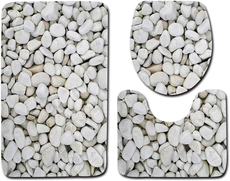 LZYMLG Juego de alfombras de baño con patrón de adoquines, Alfombrilla Antideslizante para baño, Juego de 3 Piezas, I, 45x75+35x45+45x37.5cm