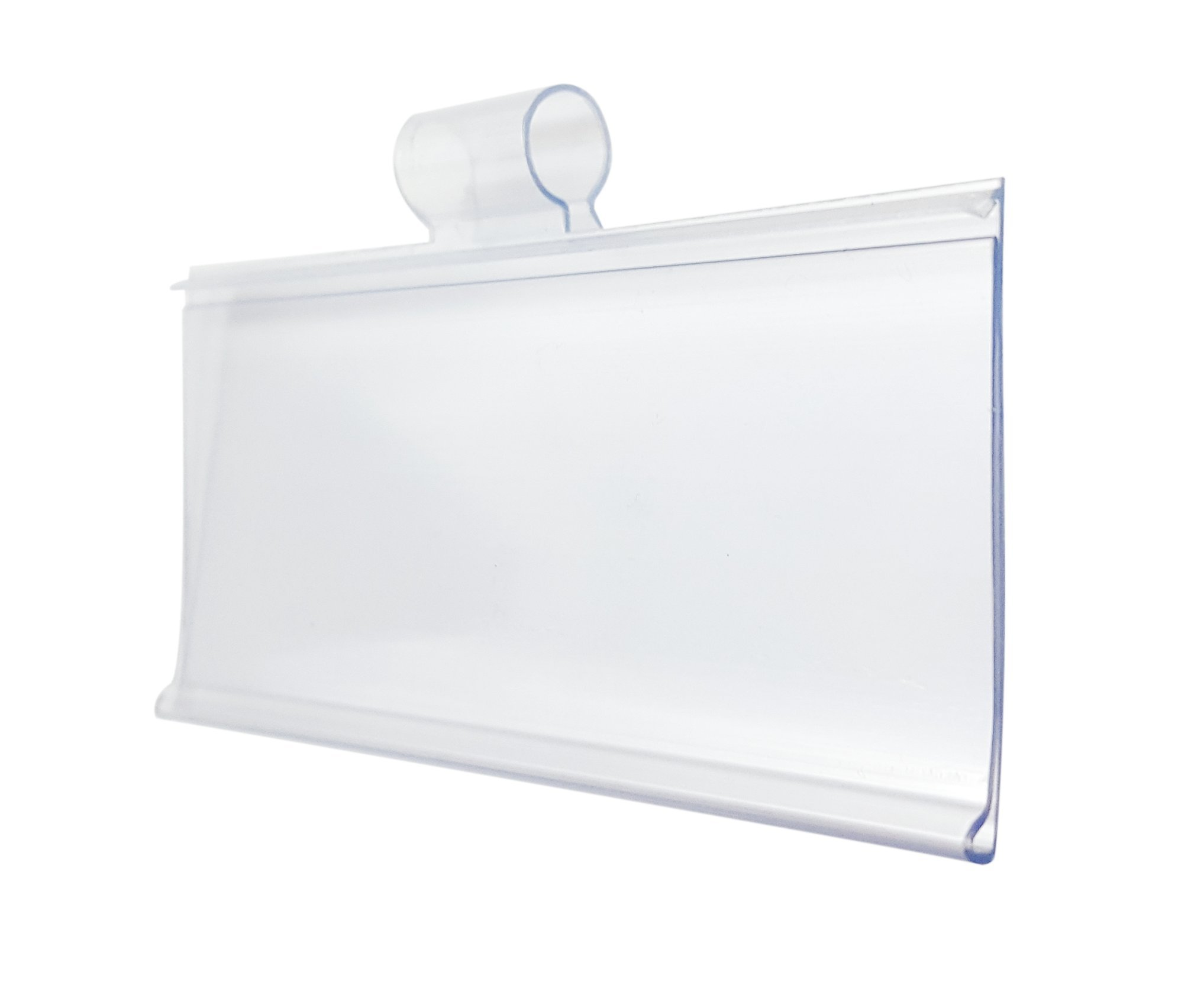 Plastic Label Holders 3'' - Ultra Clear Easy Clip Design - Pack of 100