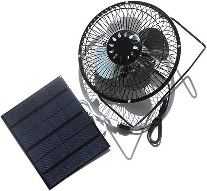 Ventilador de 3 W 6 V con panel solar para camping, caravana, yate, invernadero, casa de perro, pollo, casa ventilador: Amazon.es: Coche y moto