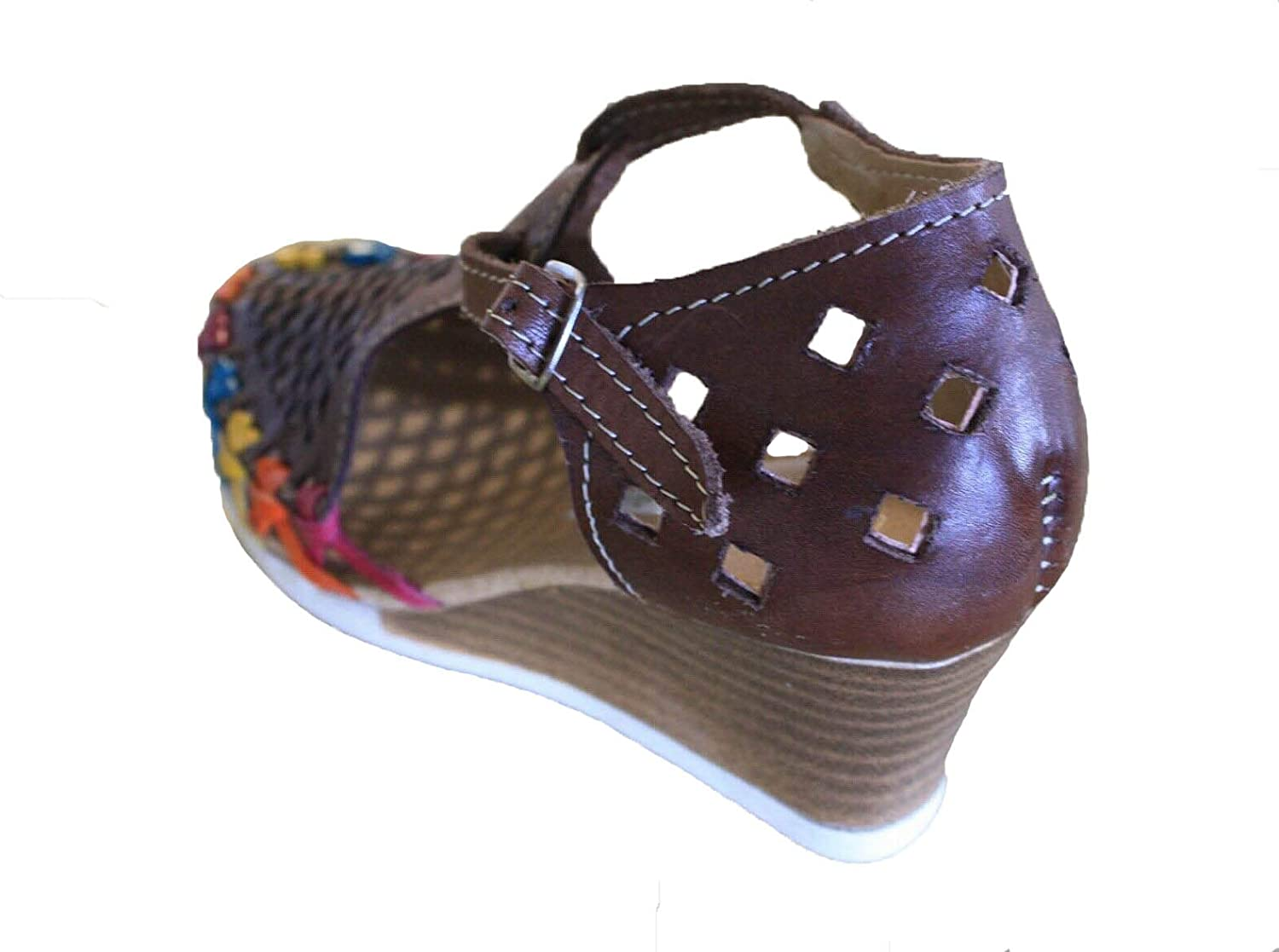Women Genuine Leather Espadrille Wedges Mexican Sandals with Brown Flower Paint