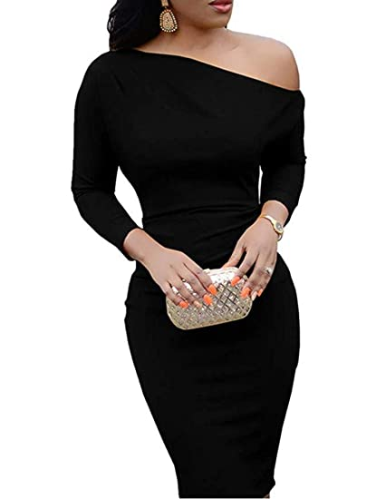 a58c2f278e Jeanewpole1 Womens One Off Shoulder Midi Dress Long Sleeve Stretchy Sexy  Bodycon Party Pencil Dress