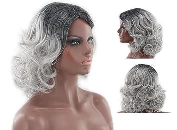 Corto Curly Moda Peluca Gris Sintético Ligeramente Fluffy Rizado Pelucas onduladas Resistente al calor sintético pelo