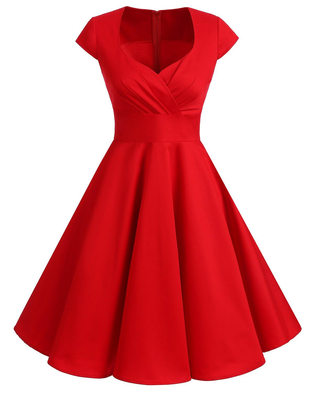 a879575771407 Bbonlinedress Women Short 1950s Retro Vintage Cocktail Party Swing Dresses  Red S