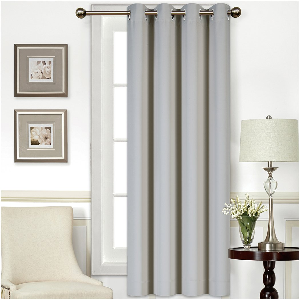 Light Gray Mellanni Thermal Insulated Blackout Curtains