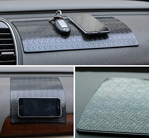 Extra Large Car Dashboard Mat PREMIUM Anti-Slip Gel Pad, Mini-Factory Sticky Non-Slip Mouting Pad for Cell phone, Sunglasses, Keys and more - Black (Size: 11