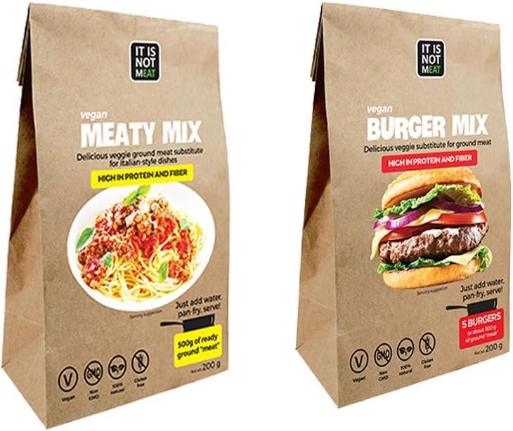 Multi-Packs > Sustitutos de Carne: Mezcla de Carne Vegana Instantánea   Mezcla de Hamburguesas Veganas Instantánea   Vegano   100% Sin Gluten