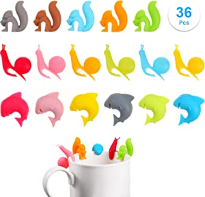 Boao 36 Pieces Tea Bag Holders Silicone Cute Tea Bag Hanger Colorful Tea Bag Clip Animal Shaped Tea Bag Holders for Cup and Mug Markers Snail Squirrel Shark Shapes