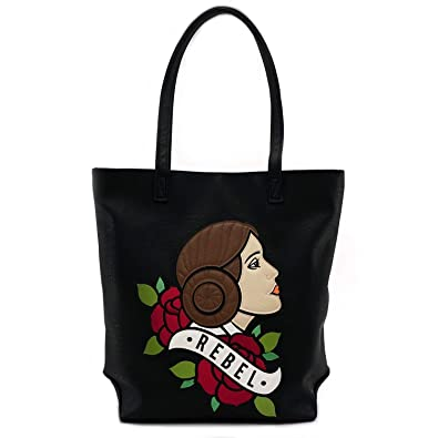 cea920fd3f Amazon.com  Loungefly x Star Wars Princess Leia Rebel Tattoo Flash Tote  Bag  Shoes