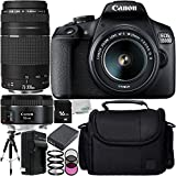 Canon EOS 1500D/Rebel T7 w/ 18-55mm Lens, 75-300mm Lens, 50mm Lens and 8pc Accessory Bundle – Includes 16GB SD Memory Card + Replacement Battery + MORE - International Version (No Warranty)