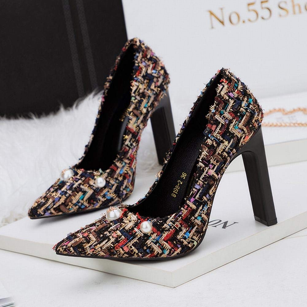 Color : Black, Size : 38 Jones Joy Womens High-Heeled Thick with Pearl Single Shoes Floral Wild Womens Shoes