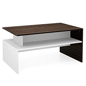 Homfa Coffee Table Side Table Living Room Home Furniture 2 Shelves Modern Storage Display Unit (Oak+White)