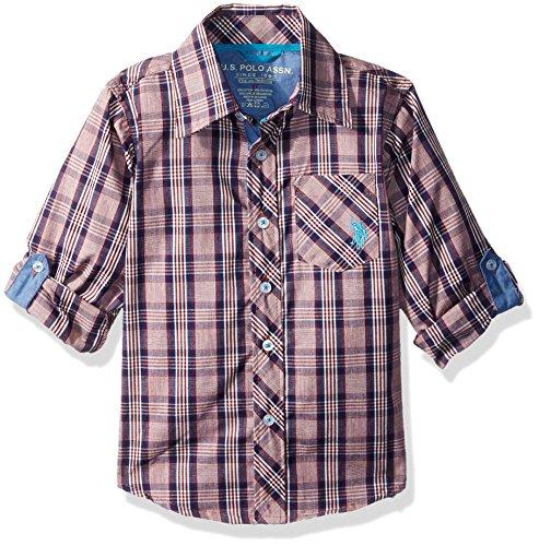 U.S. Polo Assn. Toddler Boys' Long Sleeve Plaid Shirt, Seagrams Burgund 6117, 3T